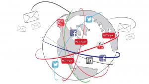 whiteboard video earth showing social media