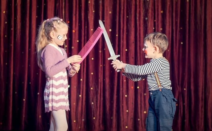 children having sword fight