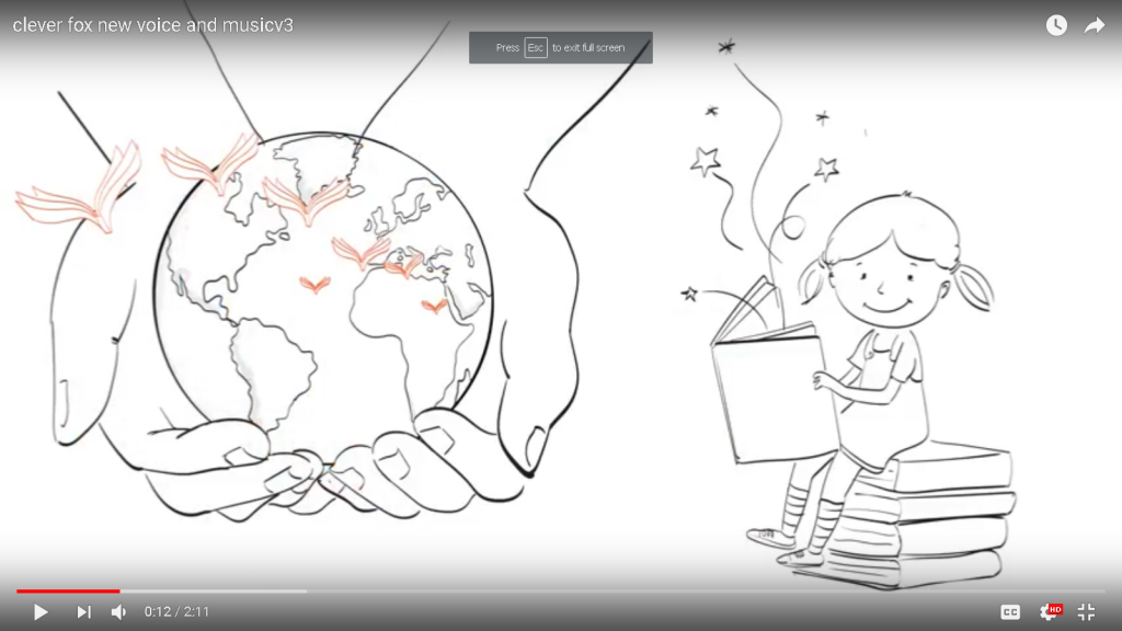 cartoon of girl reading book with earth held in hands