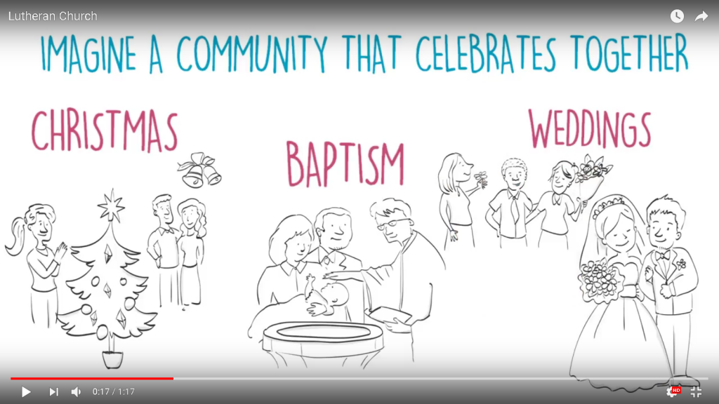 church animation showing people