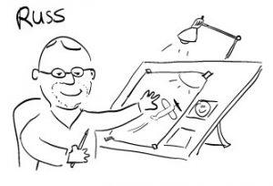 Russ drawing a cartoon